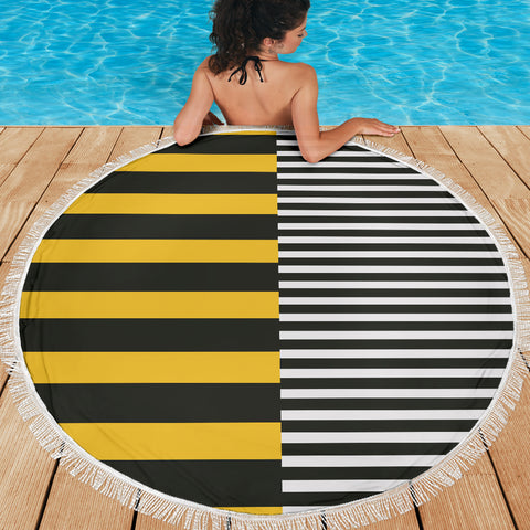 Image of Stripes-Design-01 Beach Blanket