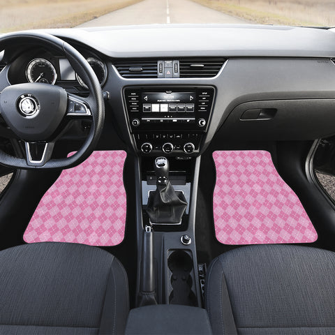 Image of Pink Argyle Car Floor Mats Set 2