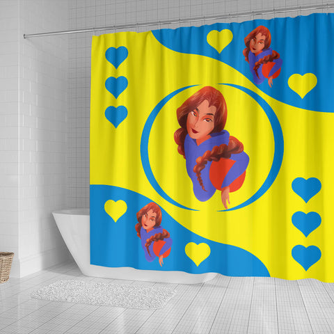 Sport-Club-Girl-01 Yellow and Blue Shower Curtain