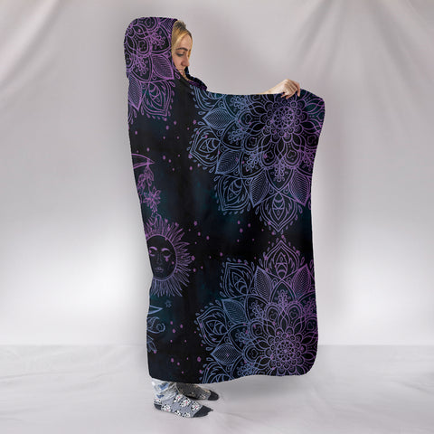 Image of Purple Sun Moon Hoodie Blanket