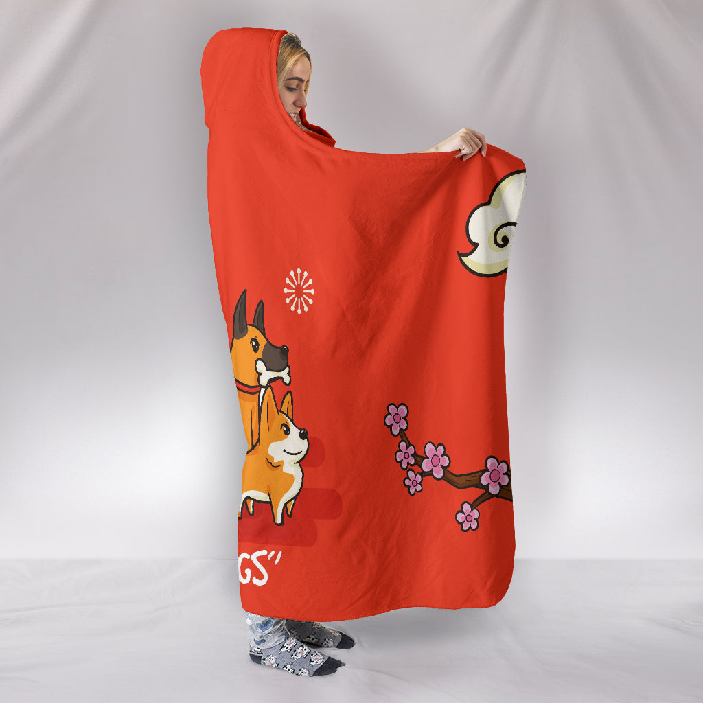 NP I Love Dogs Hooded Blanket