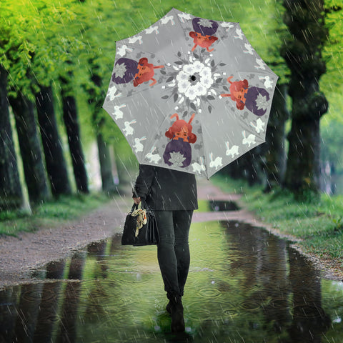 Bunny-Girl-Gray-01 All Over Print Umbrella