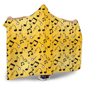 Yellow Music Notes Hooded Blanket Cosy Style