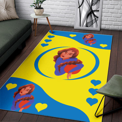 Image of Sport-Club-Girl-01 Yellow and Blue Area Rug