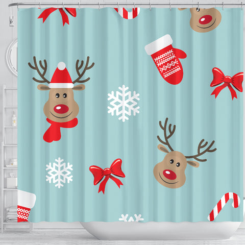 Image of Christmas Deers Shower Curtain