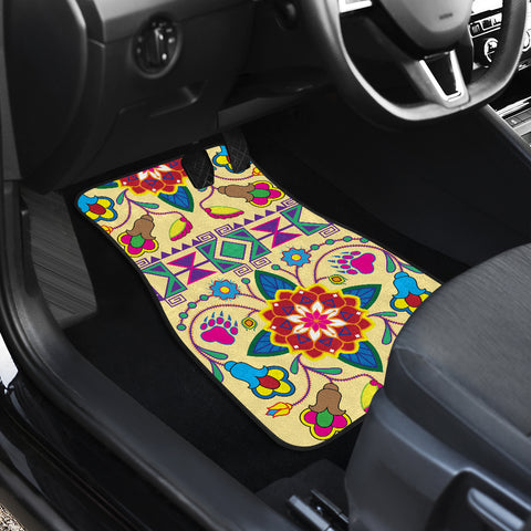 Image of Geometric Floral Winter-Vanilla (Set Of 2) Car Mats