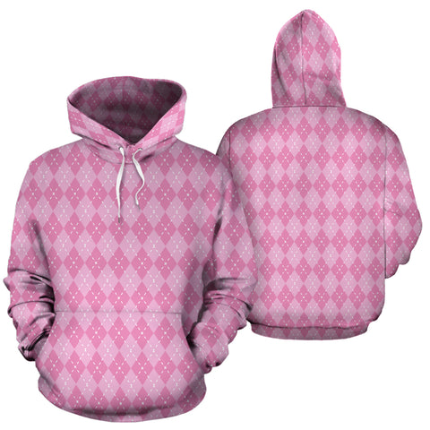 Image of Pink Argyle All Over Hoodie