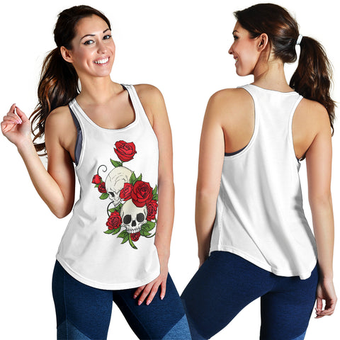 Skull Couple Roses (White) - Women's Racerback Tank Top