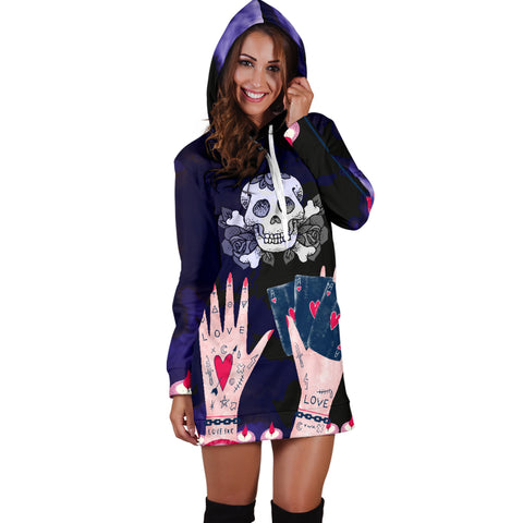 Image of Love Ink Hoodie Dress for Tattoo and Skull Lovers