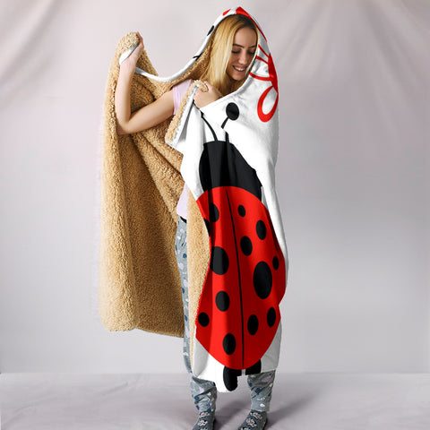 Lady Bugs & Flower Plush Lined Hooded Blanket