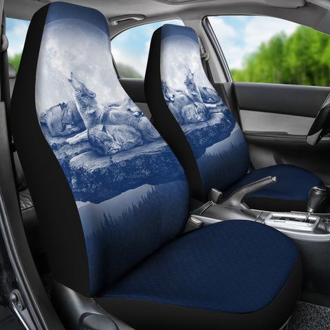 Image of WOLF CAR SEAT COVERS - FAMILY - BLUE