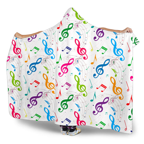 Image of Colorful Music Notes Hooded Blanket