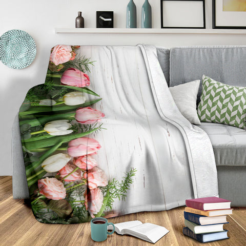 Image of Pink Tulips Roses Premium Blanket
