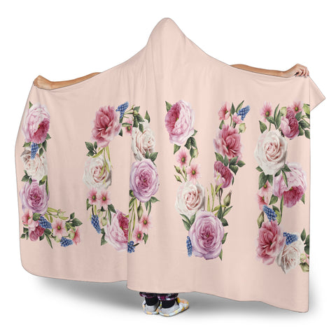 Image of Floral Love (Pink) - Hooded Blankets