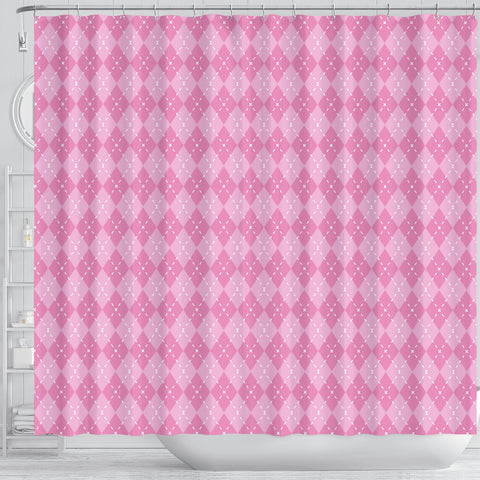 Image of Pink Argyle Shower Curtain