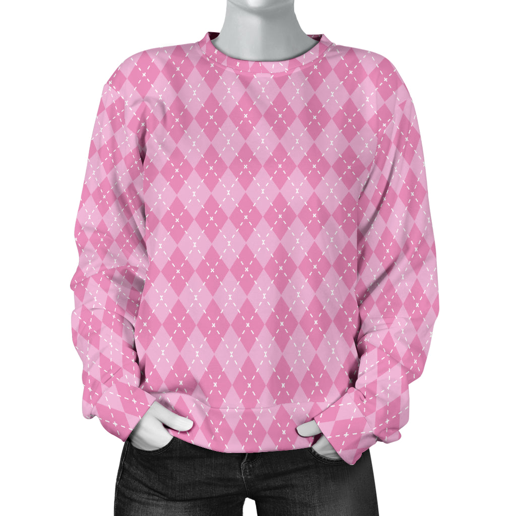 Pink Argyle Women's Sweater