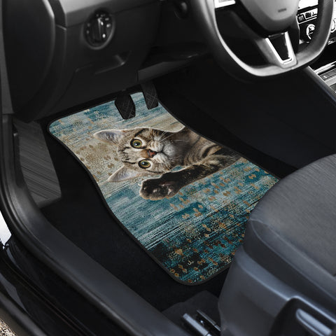 Grey kitten cute Front And Back Car Mats (Set of 4)