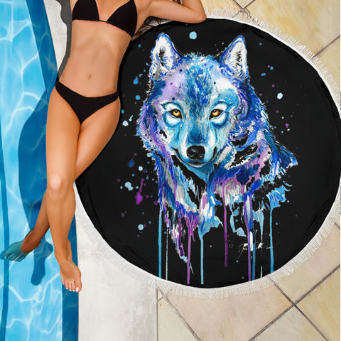 Image of Watercolour Wolf Beach Blanket
