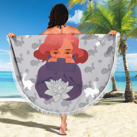 Bunny-Girl-Gray-01 Beach Blanket