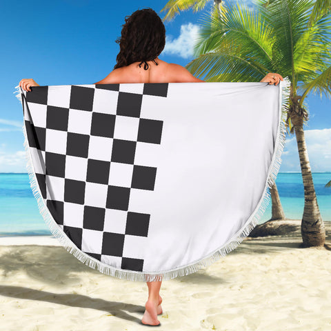 Image of Car-Stripes-Design-02 Beach Blanket