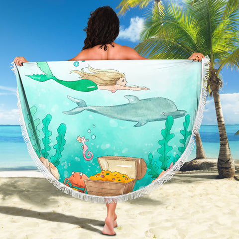 Image of Mermaid Dolphin Water Color Beach Blanket