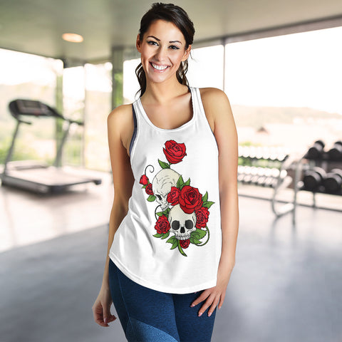Image of Skull Couple Roses (White) - Women's Racerback Tank Top