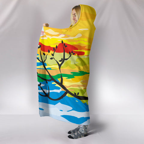Image of Sunset Cat Hooded Blanket