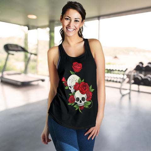 Skull Couple Roses (Black) - Women's Racerback Tank Top
