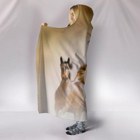 Image of Wild Horses Hooded Blanket