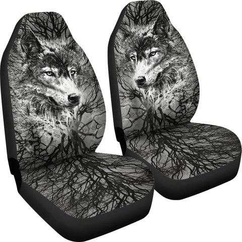 Image of WOLF BEHIND TREE SEAT COVERS