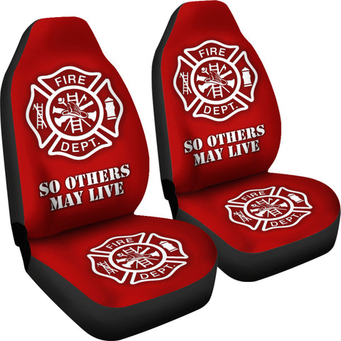 Fire Department Red Car Seat Covers