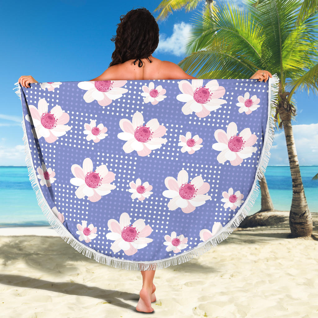 Purple-Flower-01 Beach Blanket