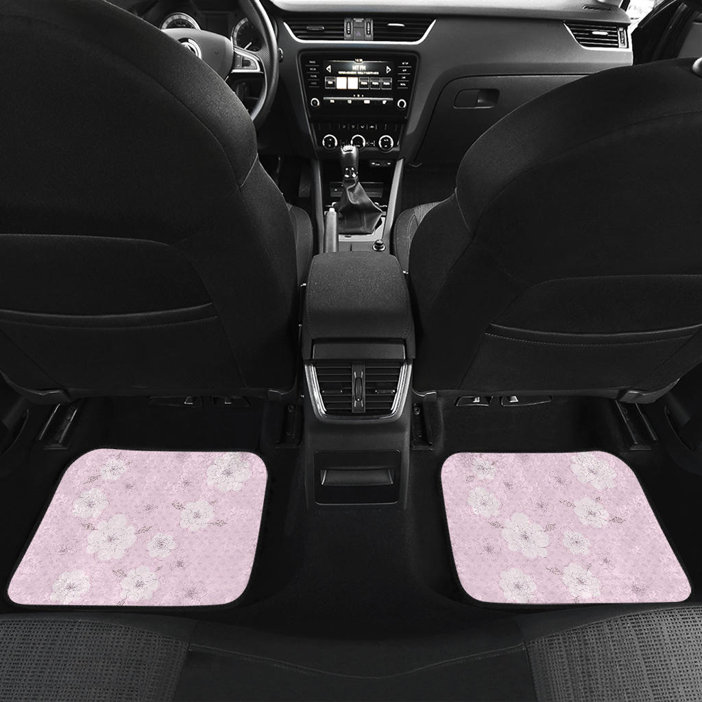 Pink-Flower-02 Front And Back Car Mats