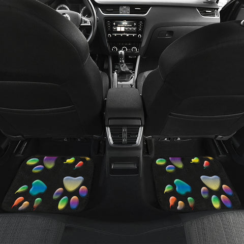 Image of Colored paws Front And Back Car Mats (Set of 4)