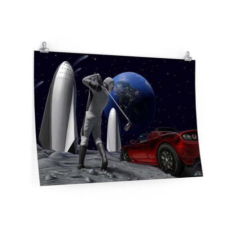 Golfing on the Moon - Premium Posters