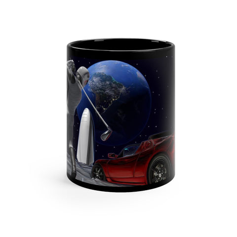 Golfing on the Moon - Black mug 11oz