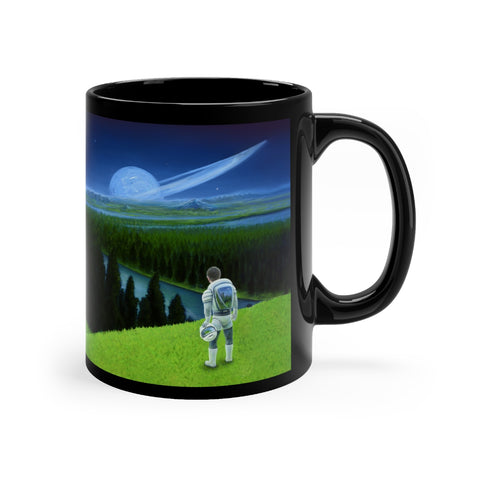 Happy Little Astronaut - Black mug 11oz