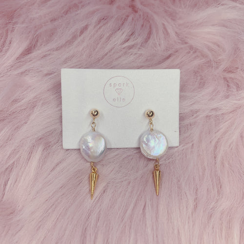 Pearl Disk Dagger Earrings