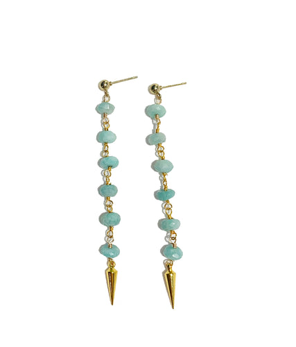 Amazonite Pointed Stone Dangle Earrings