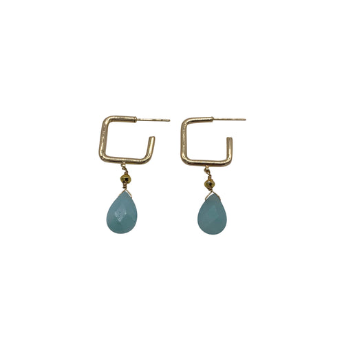 Amazonite Square Gemstone Hoops