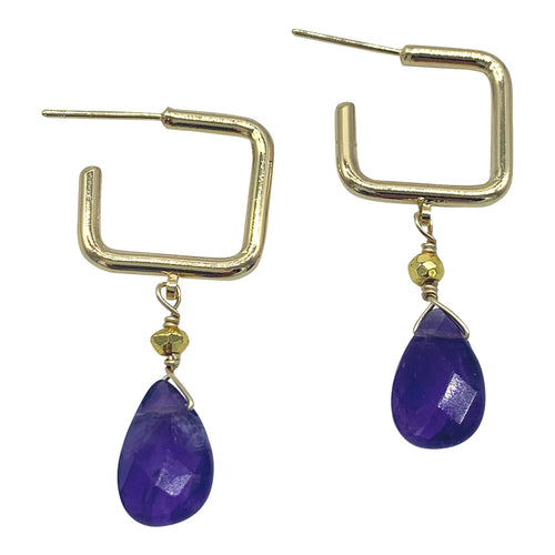 Amethyst Square Gemstone Hoops