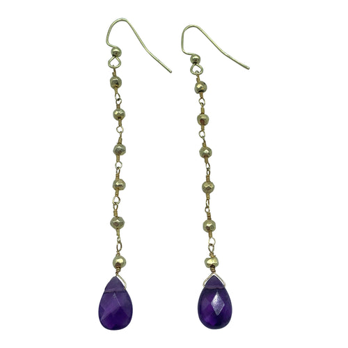Amethyst Gold Pyrite Drop Earrings