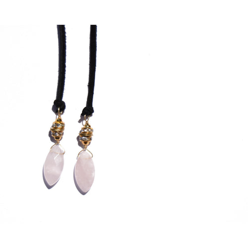 Rose Quartz Suede Necklace + Bracelet Wrap (Black)