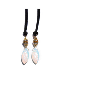 Opalite Necklace + Bracelet Wrap (Black)