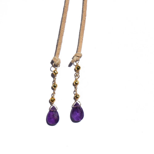Amethyst & Gold Pyrite Suede Necklace + Bracelet (Tan)