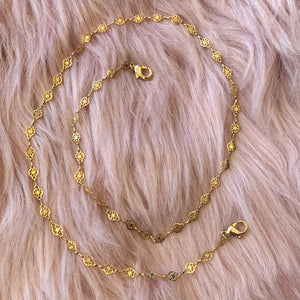 Gold Lace Link Mask Chain