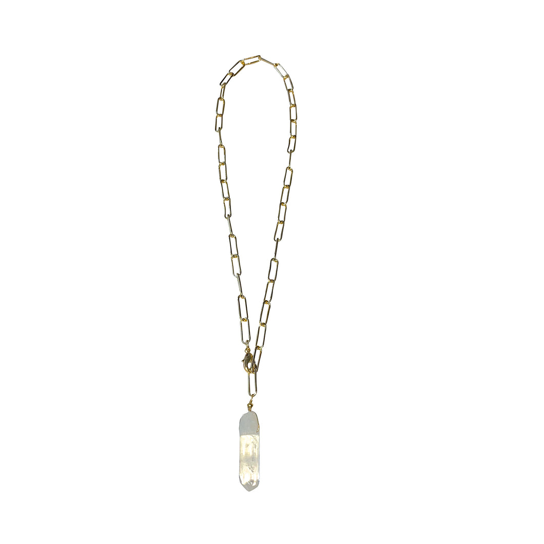 Clear Quartz Paperclip Chain Necklace