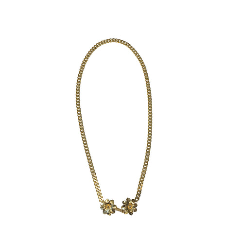 Flower Clasp Curb Chain Necklace