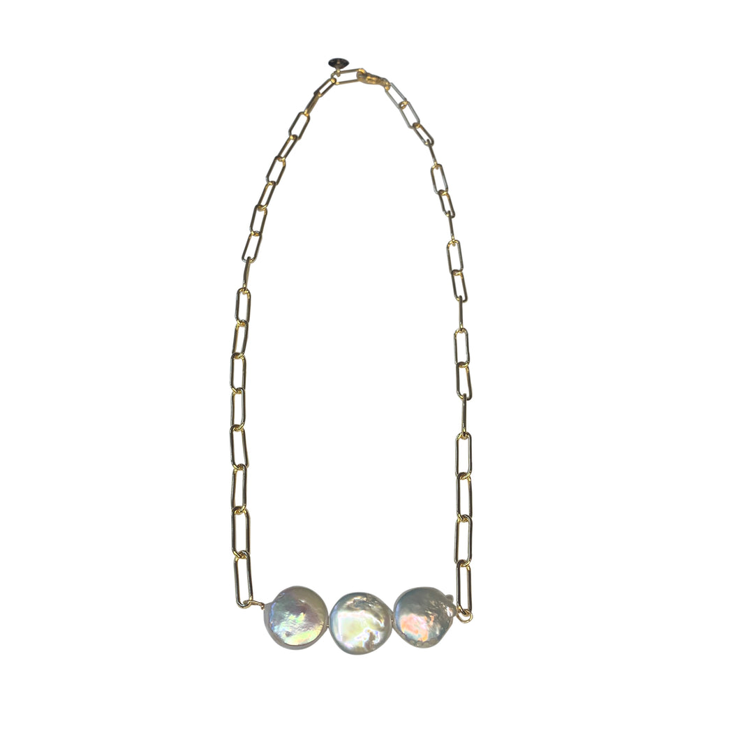Triple Pearl Paperclip Chain Necklace
