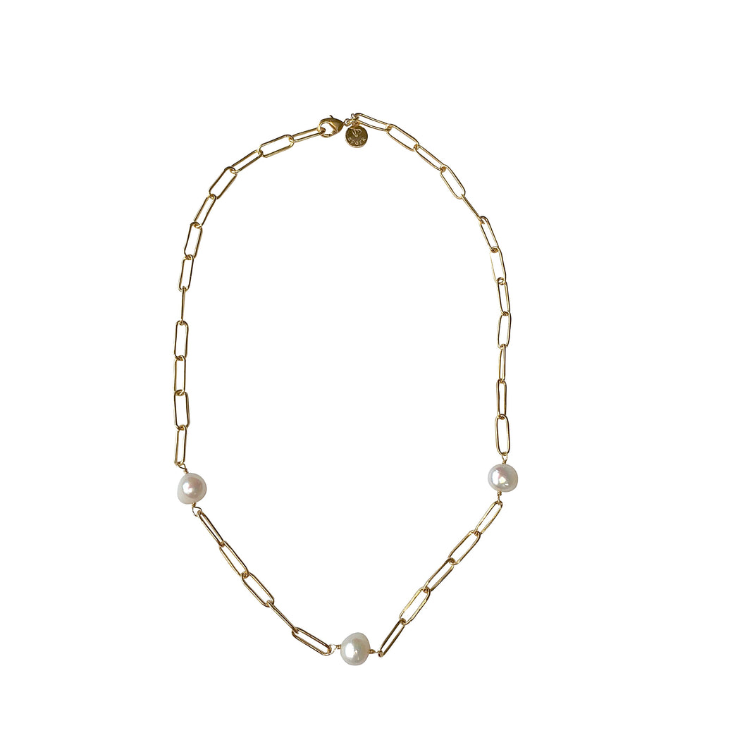 Round Pearl Paperclip Chain Necklace